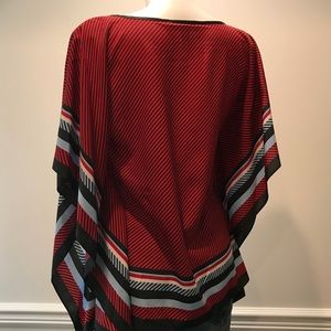 Michael Kors Blue Black and red scarf blouse.